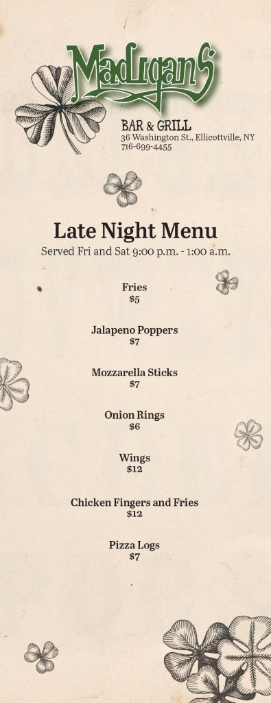 Late Night Menu and Beer List-1